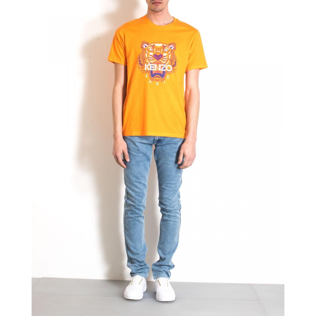 kenzo orange cotton t shirt tiger print in orange for men. Black Bedroom Furniture Sets. Home Design Ideas