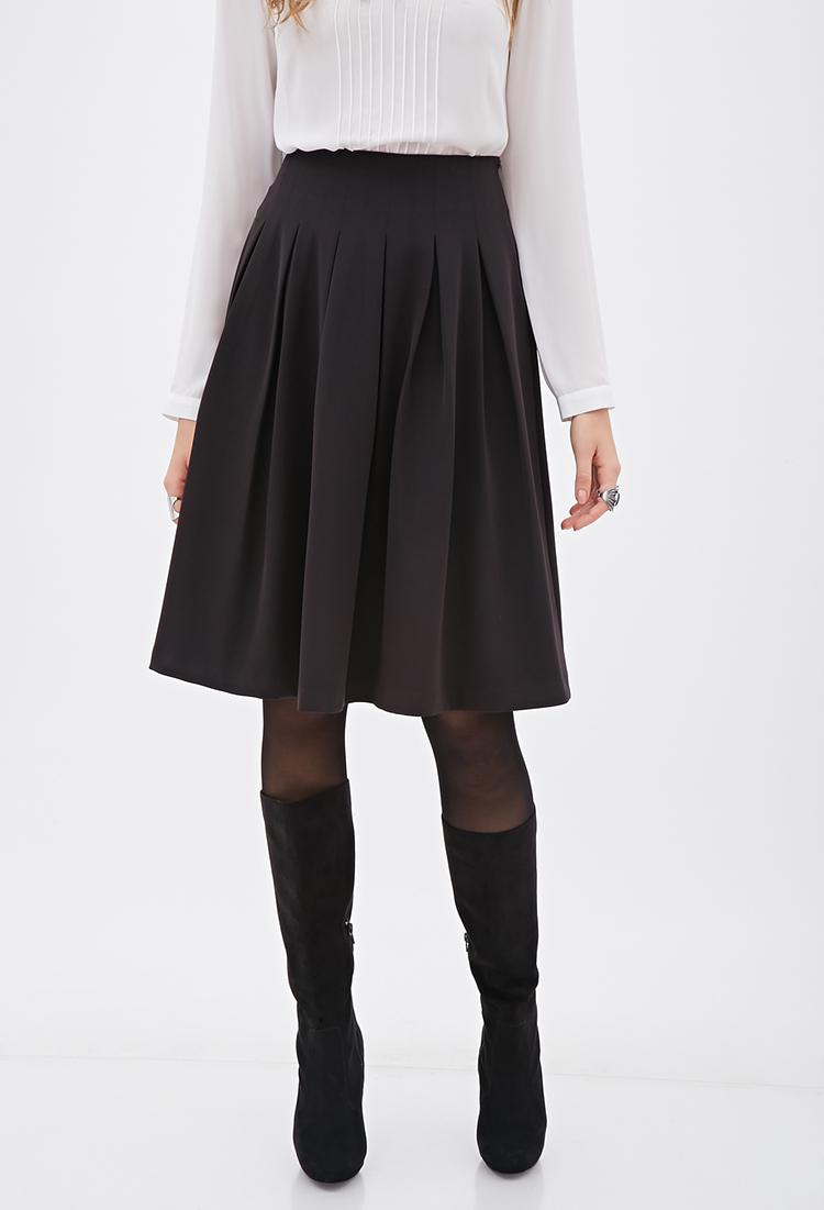 forever 21 contemporary knee length pleated skirt in black