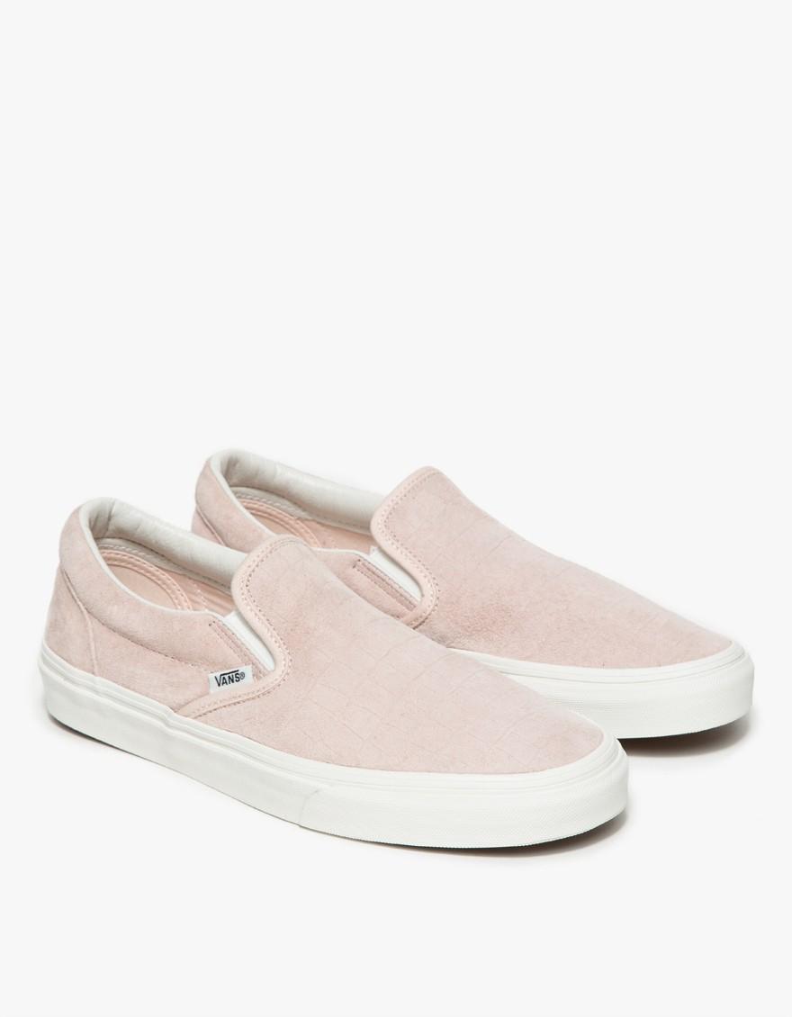 vans slip on pink leather