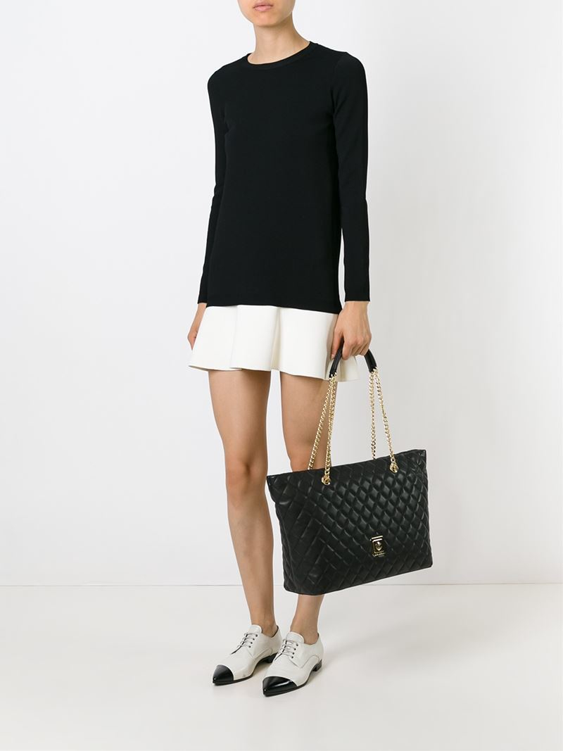 48b4cec53 Love Moschino Quilted Shopper Tote in Black - Lyst