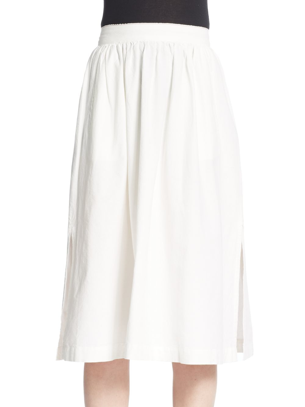 3x1 High-rise Cotton Midi Skirt in White | Lyst