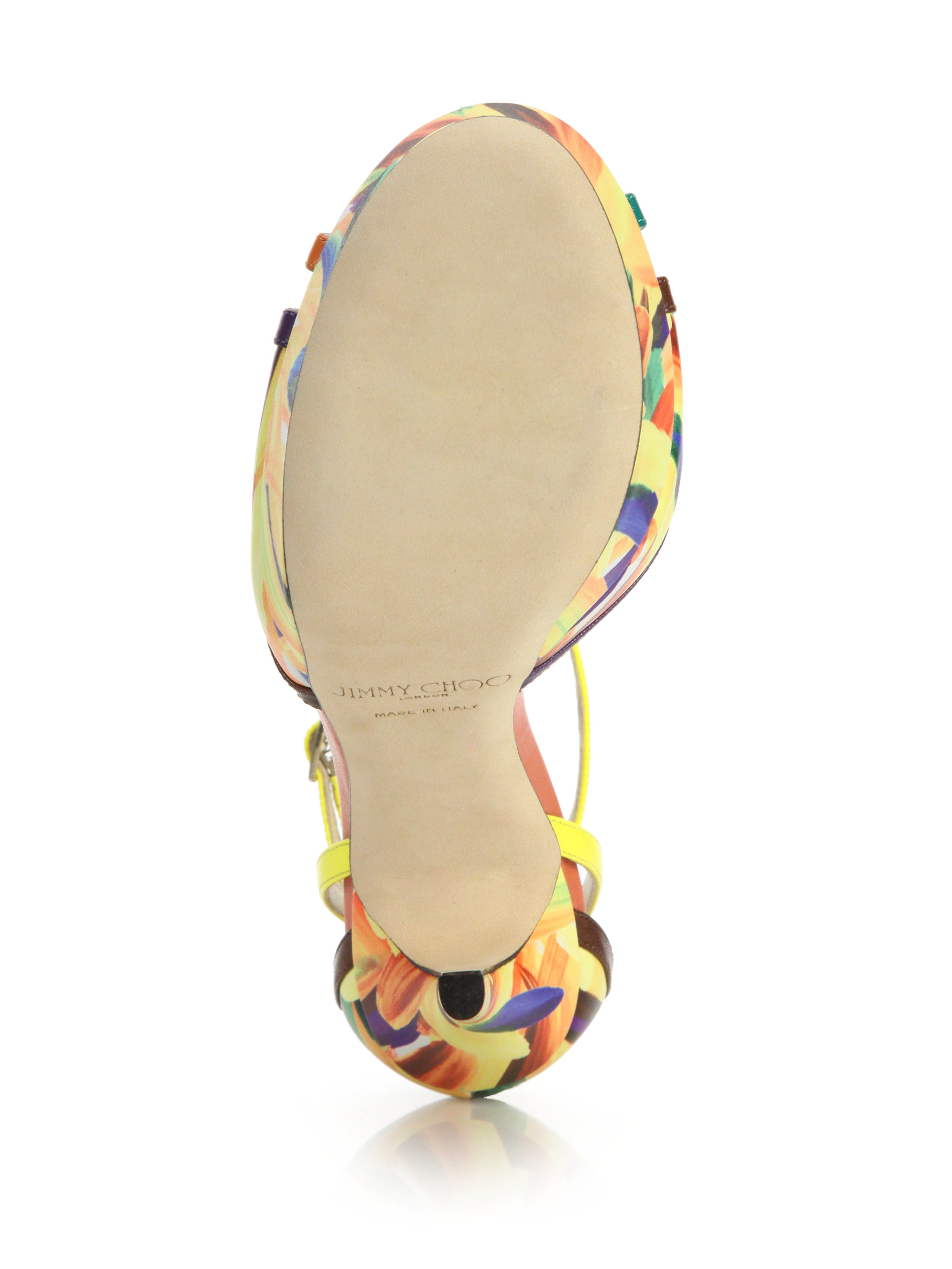 7d7af8a32127 Jimmy Choo - Yellow Laurita Feather-print Leather Platform Sandals - Lyst