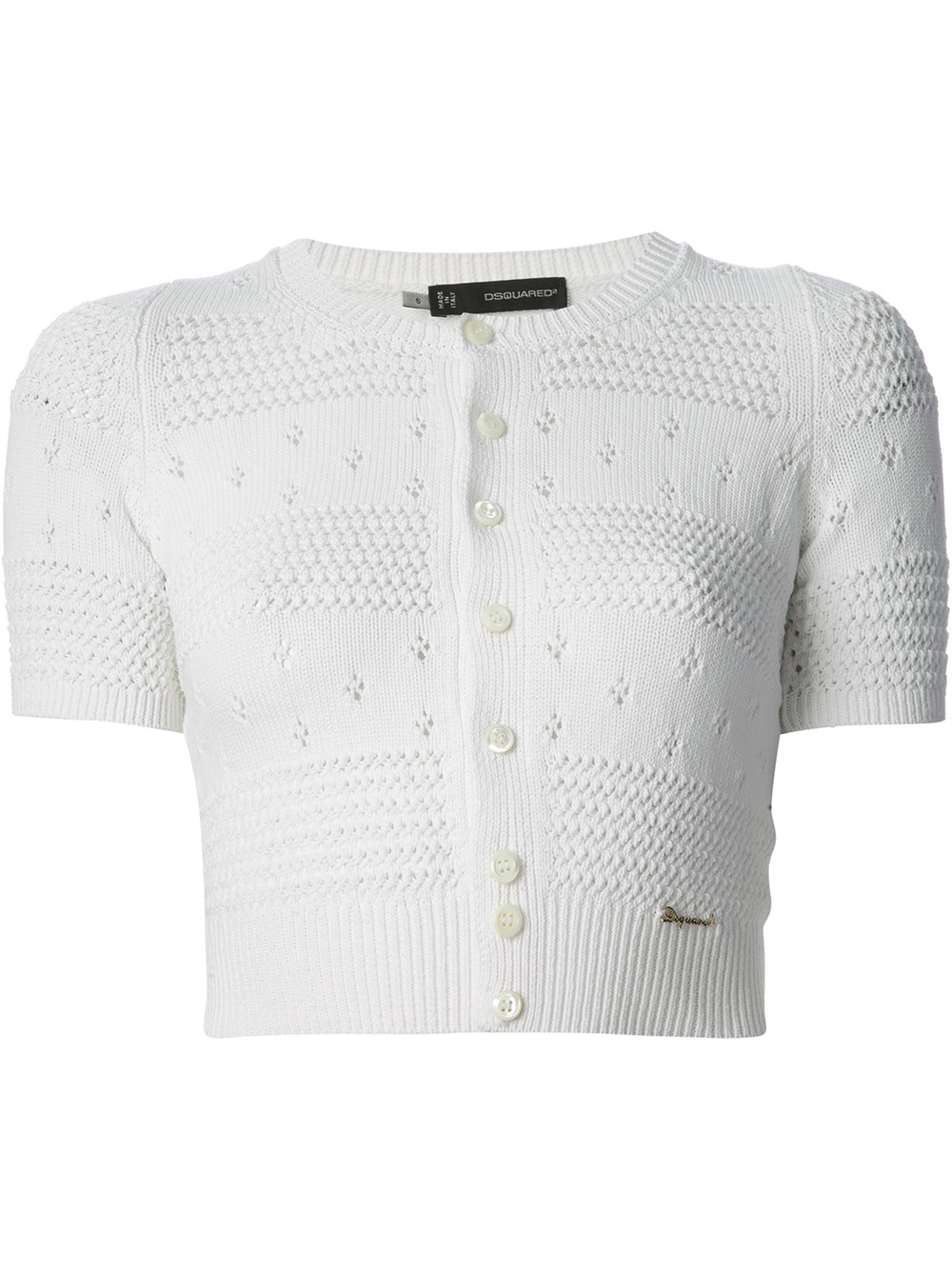 Dsquared² Cropped Cardigan in White | Lyst