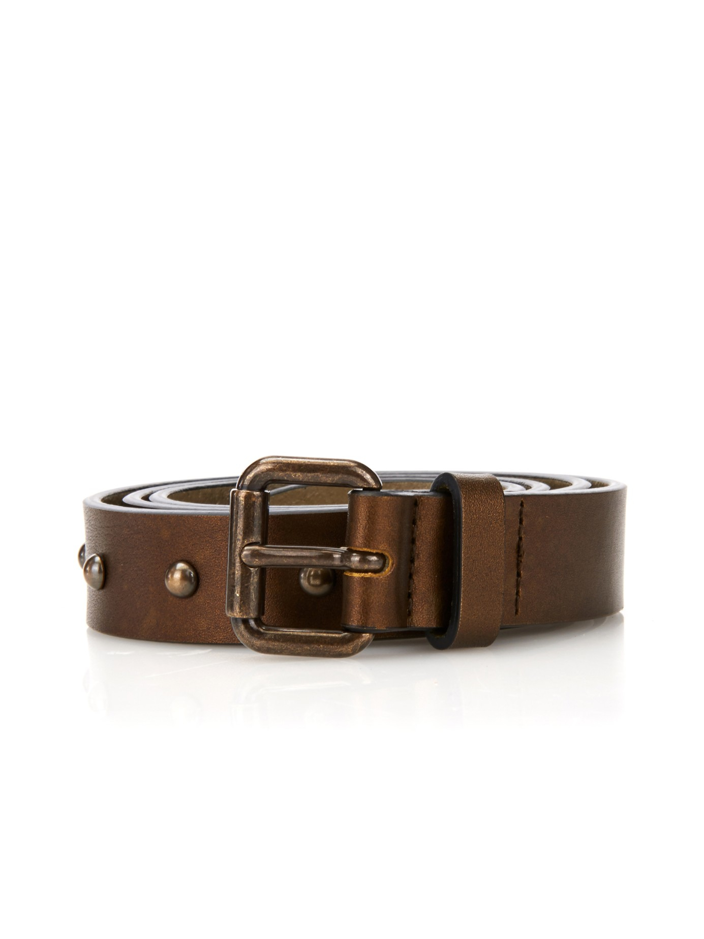 tomas maier studded leather belt in brown for lyst