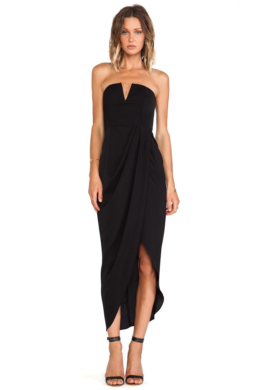 Shona Joy V Bustier Draped Midi Dress In Black Lyst