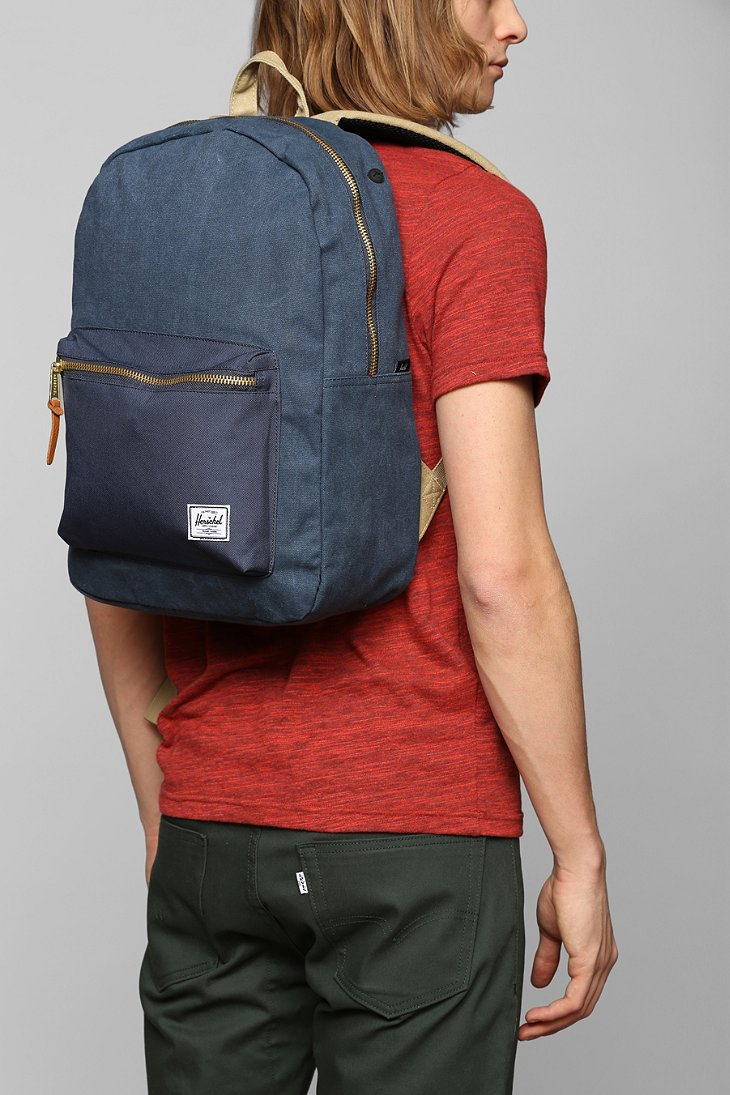 3a3f708f9a Lyst - Herschel Supply Co. Settlement Cotton Canvas Backpack in Blue ...