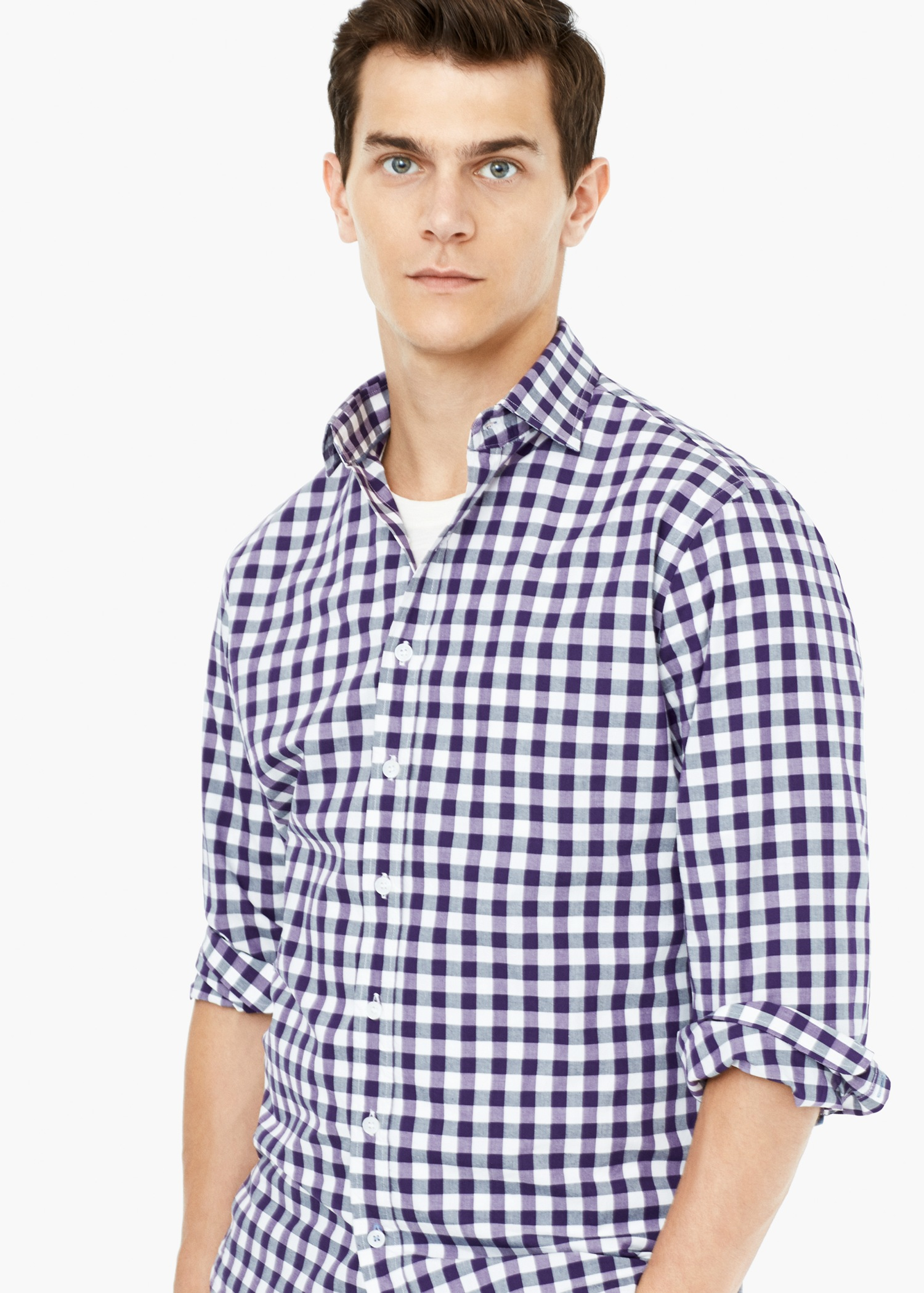 Mango slim fit gingham check shirt in purple for men lyst for Men s purple gingham shirt