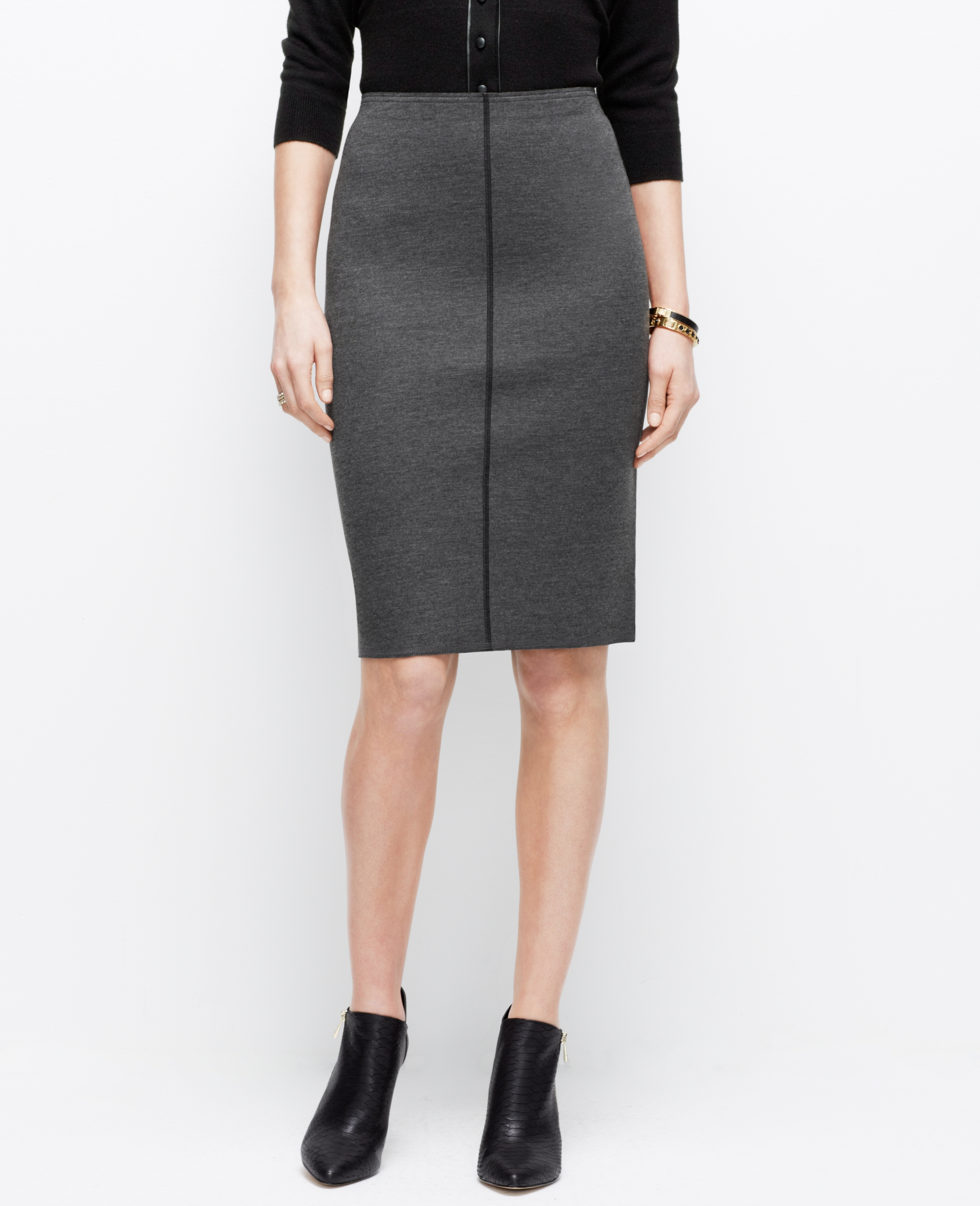 tipped jersey pencil skirt in gray lyst