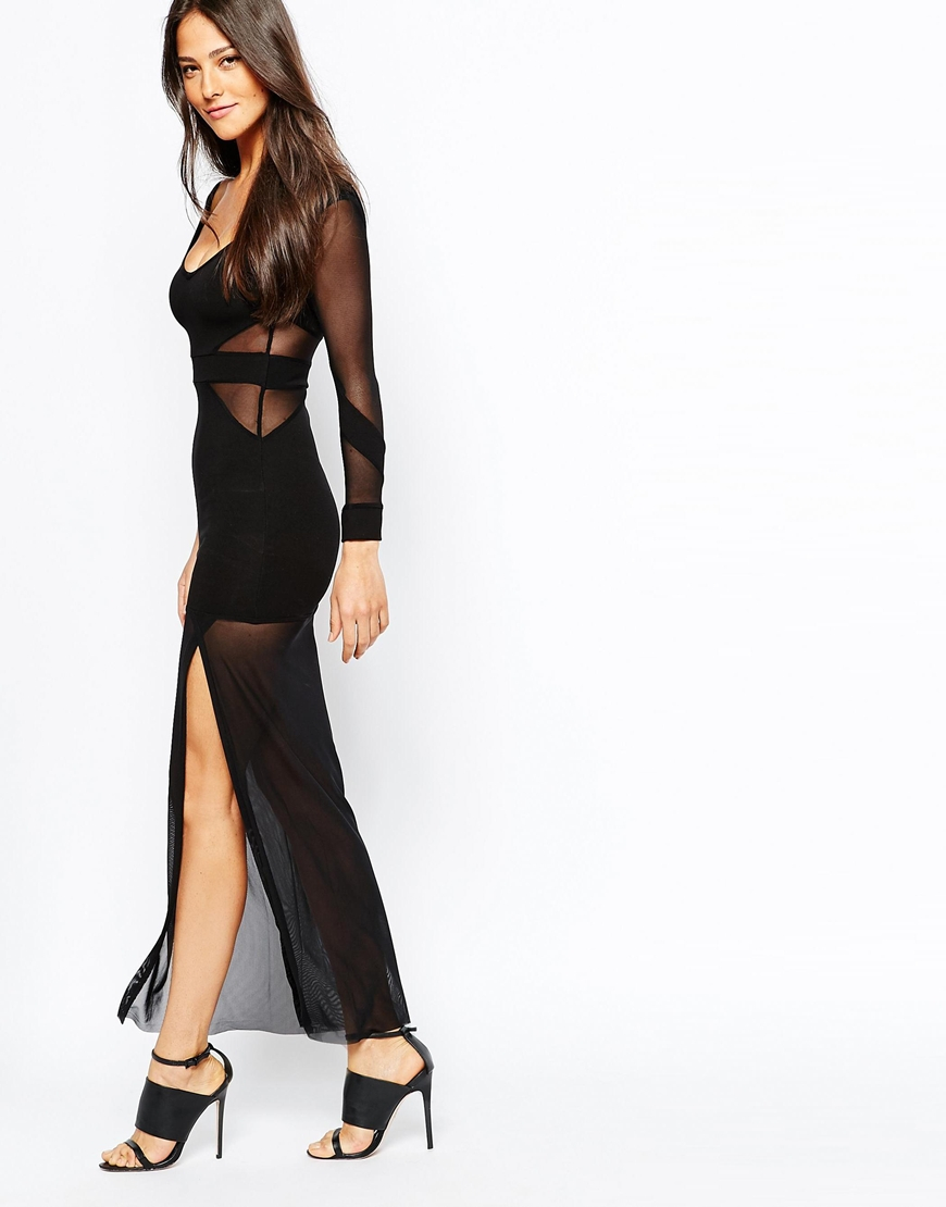 quontum maxi dress with mesh inserts and sheer skirt in
