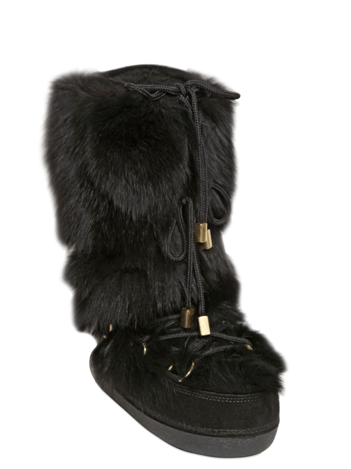 The black acrylic and polyester blend faux fur boot covers will complete any monster outfit, whether she wants to be a wolf man (wolf girl?) or a Big Foot (Little Foot?). Just be sure to keep a wary eye on your bowls of candy for the sake of everyone.