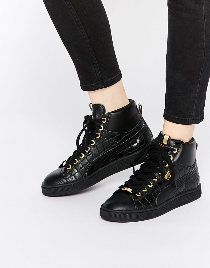 puma basket black mid exotic croc texture trainers in black for men lyst. Black Bedroom Furniture Sets. Home Design Ideas