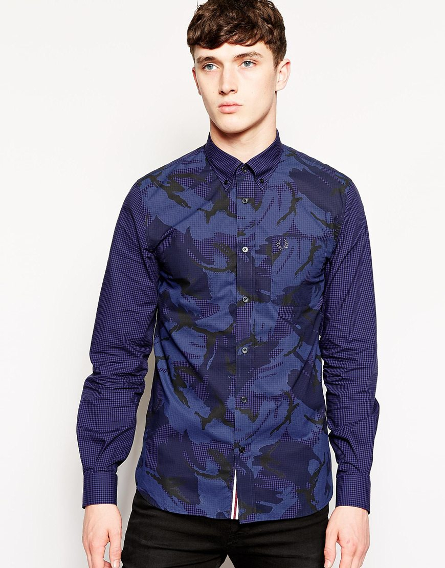 Blue Overdyed For Men Shirt Lyst Fred Perry With Gingham Camo In nkXN80OwP