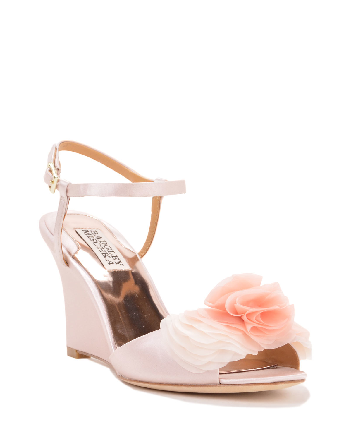 badgley mischka glee satin wedge evening shoe in pink lyst