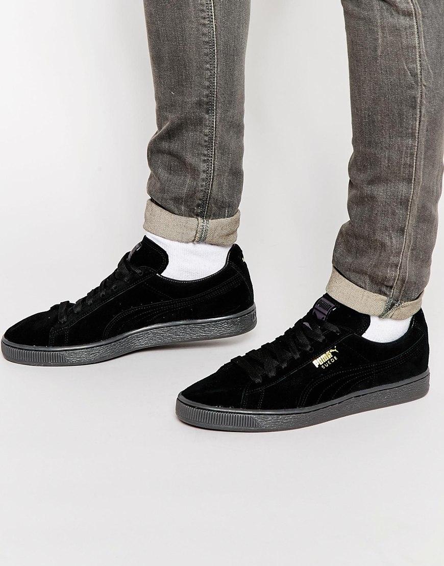 super popular ab406 29981 Men's Black Suede Mono Sneakers