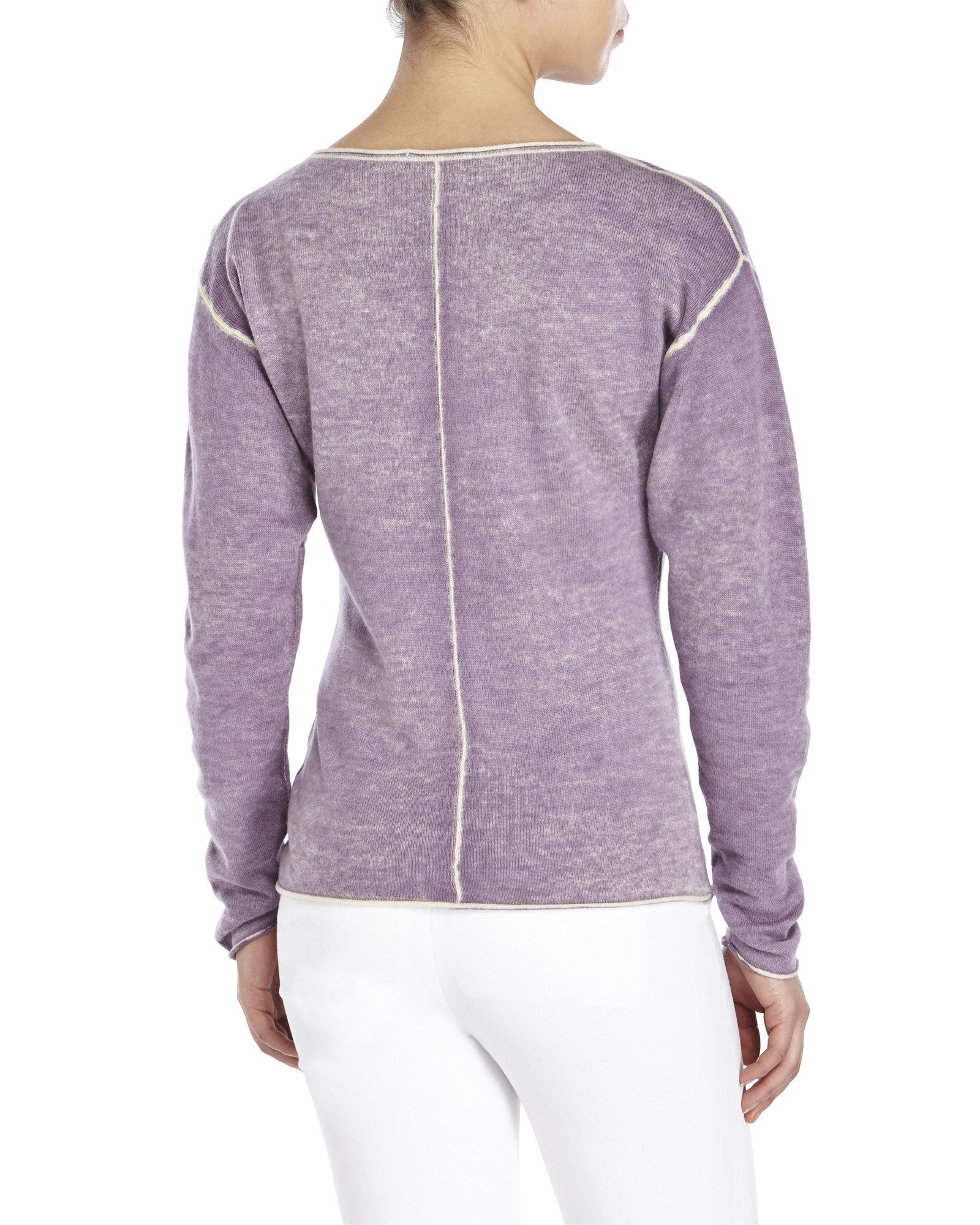 Raffi Cashmere Contrast Seam Sweater in Purple | Lyst