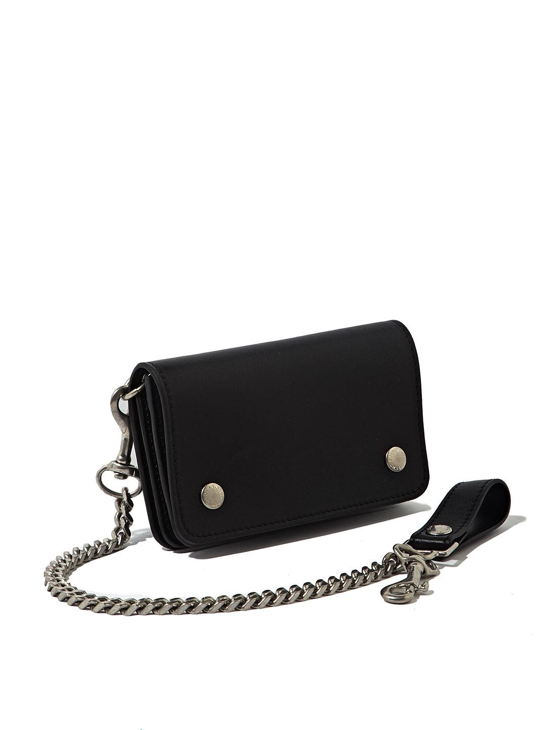 Saint Laurent Mens Leather Pocket Chain Wallet In Black