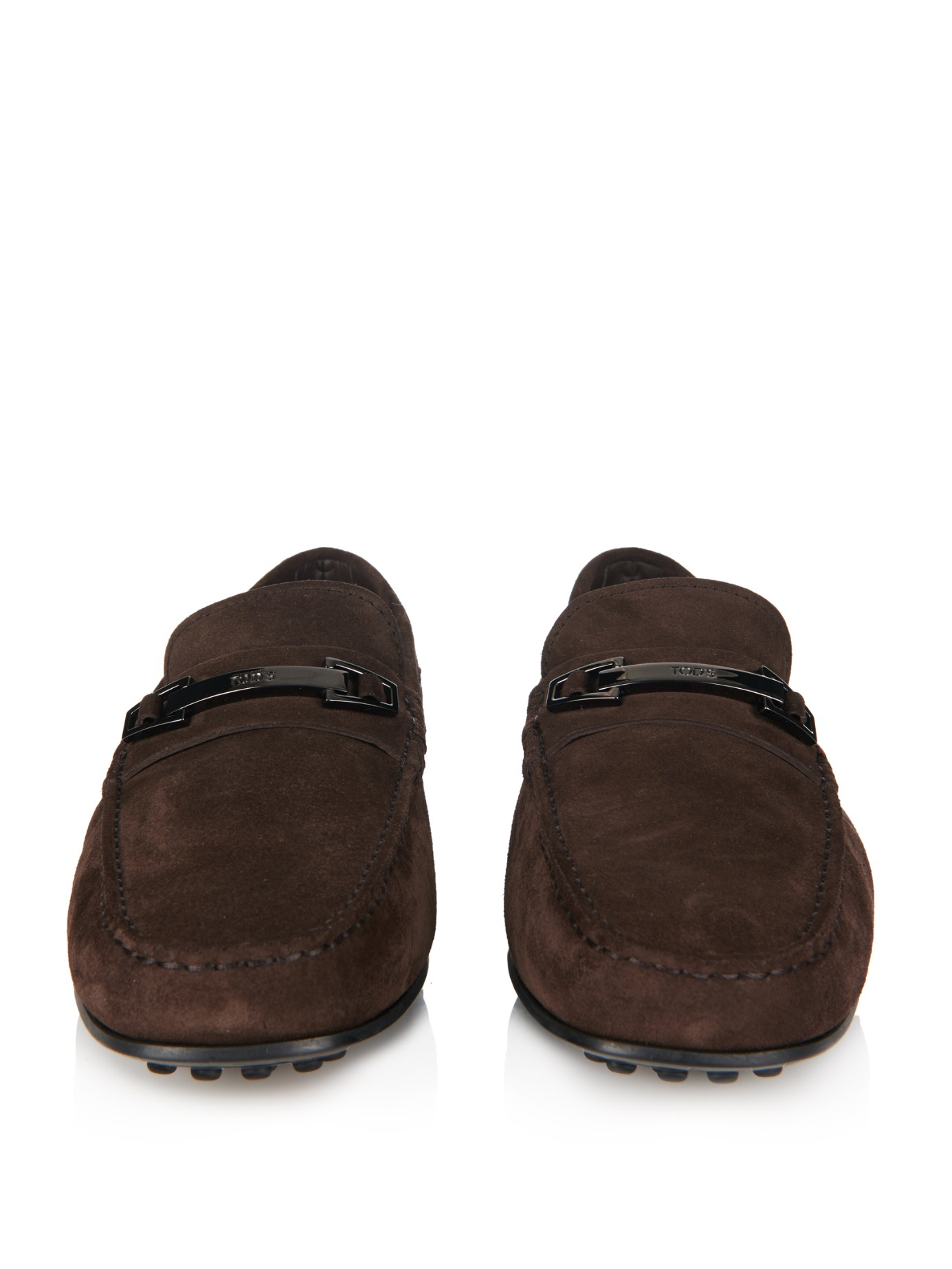 tod s gommino suede driving shoes in brown for lyst
