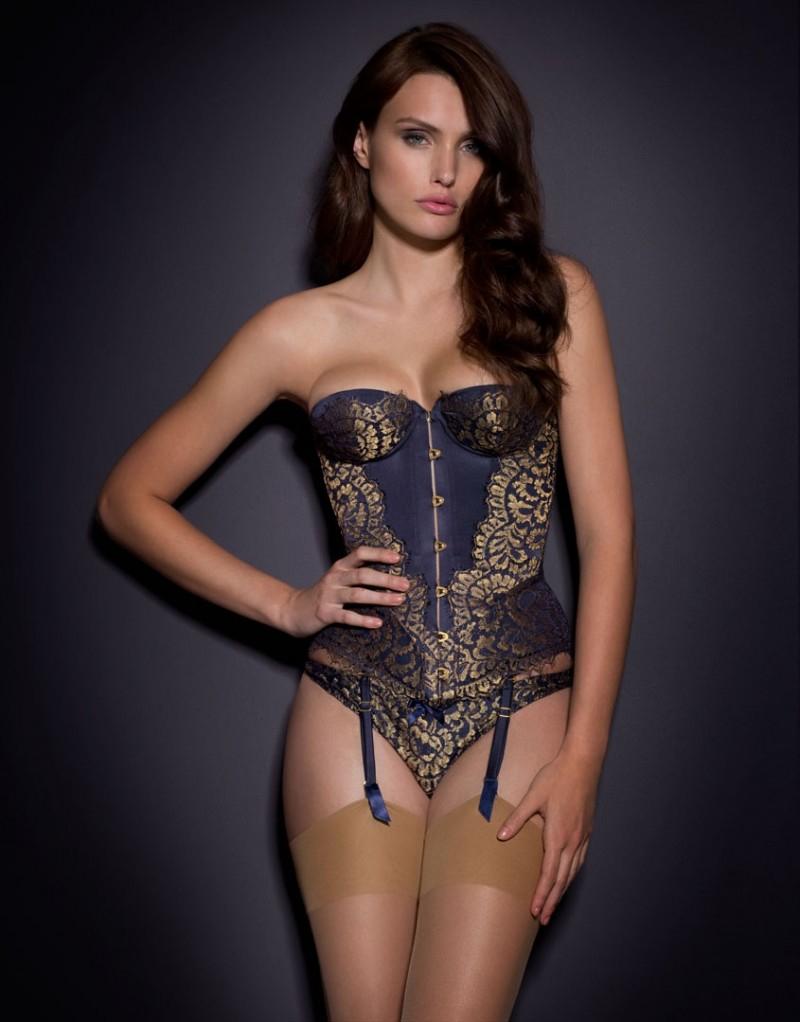 lyst agent provocateur sakurah corset navy gold in metallic. Black Bedroom Furniture Sets. Home Design Ideas