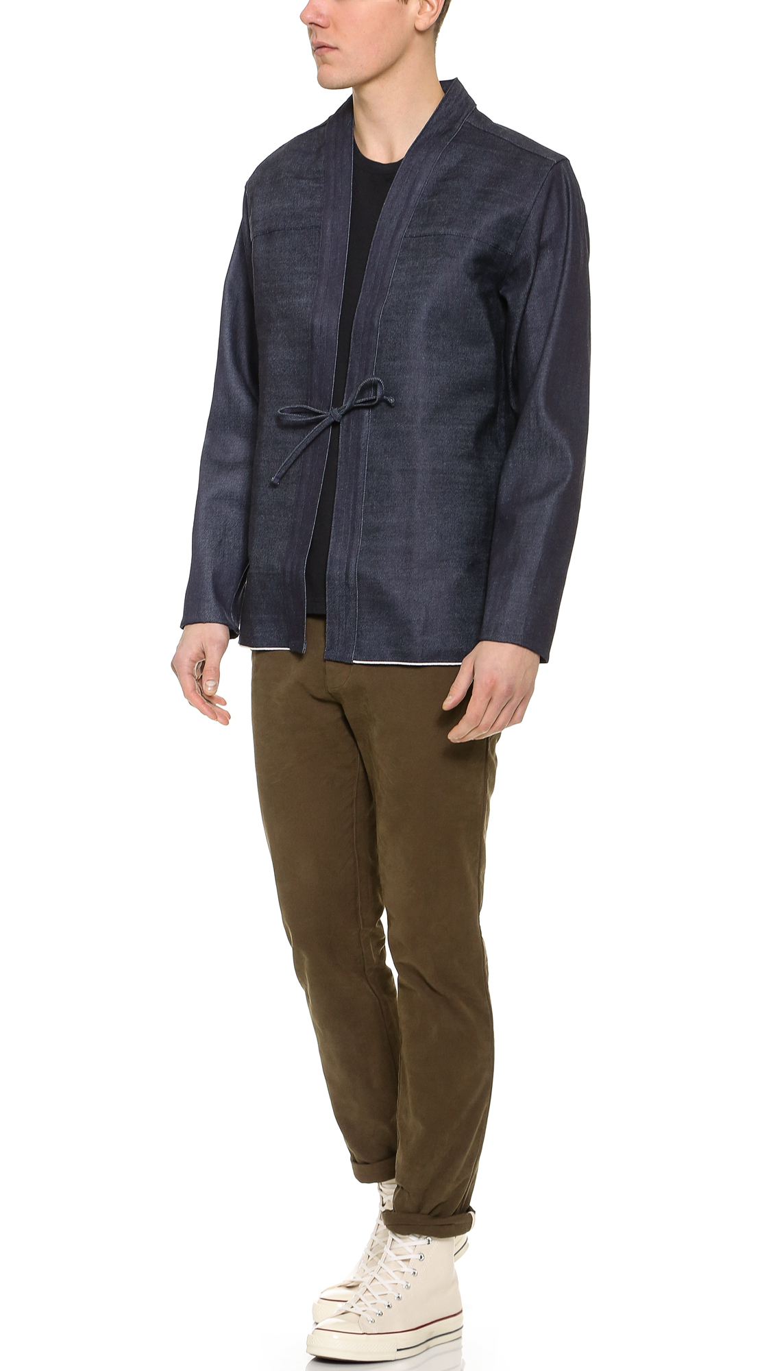 Naked  Famous Selvedge Kimono Shirt In Blue For Men -4023