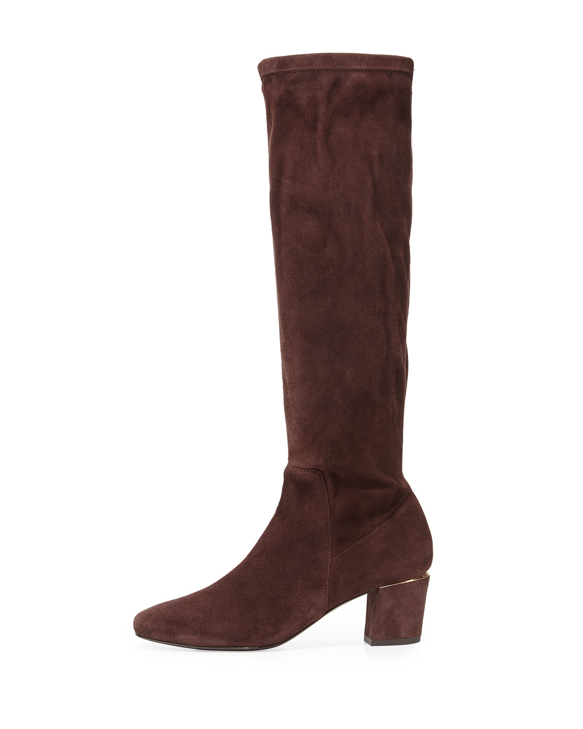 delman cyera stretch suede knee boot in brown brown