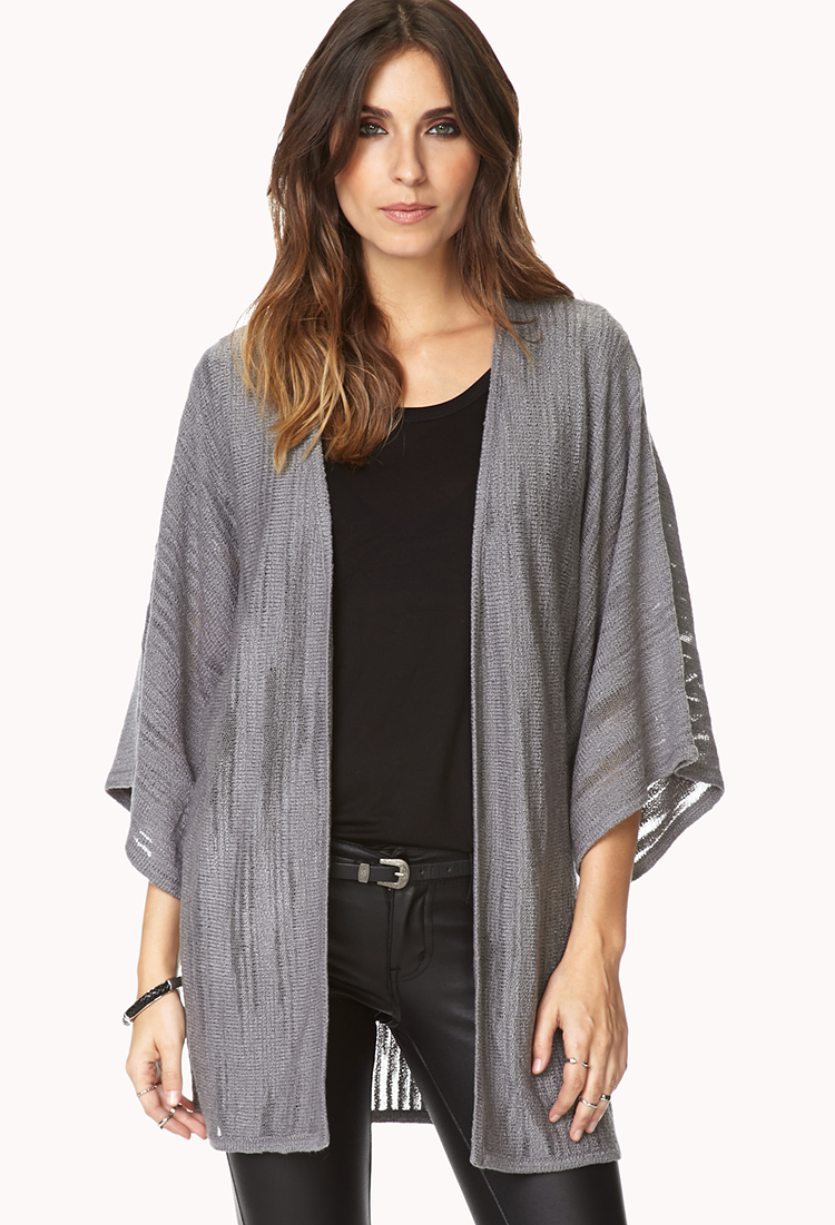 Forever 21 Free Spirit Kimono Cardigan in Gray | Lyst