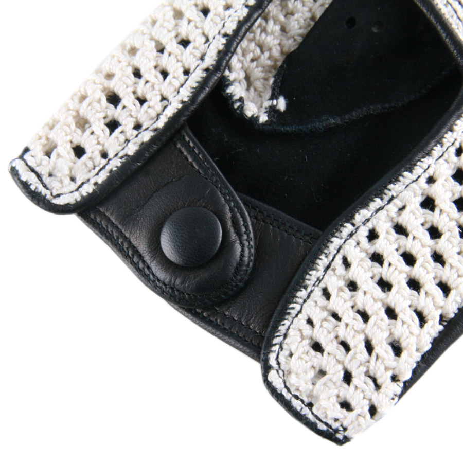 Leather driving gloves london -  Black Co Uk Mens Cotton Crochet And Black Leather Fingerless Por Driving Gloves Fingerless
