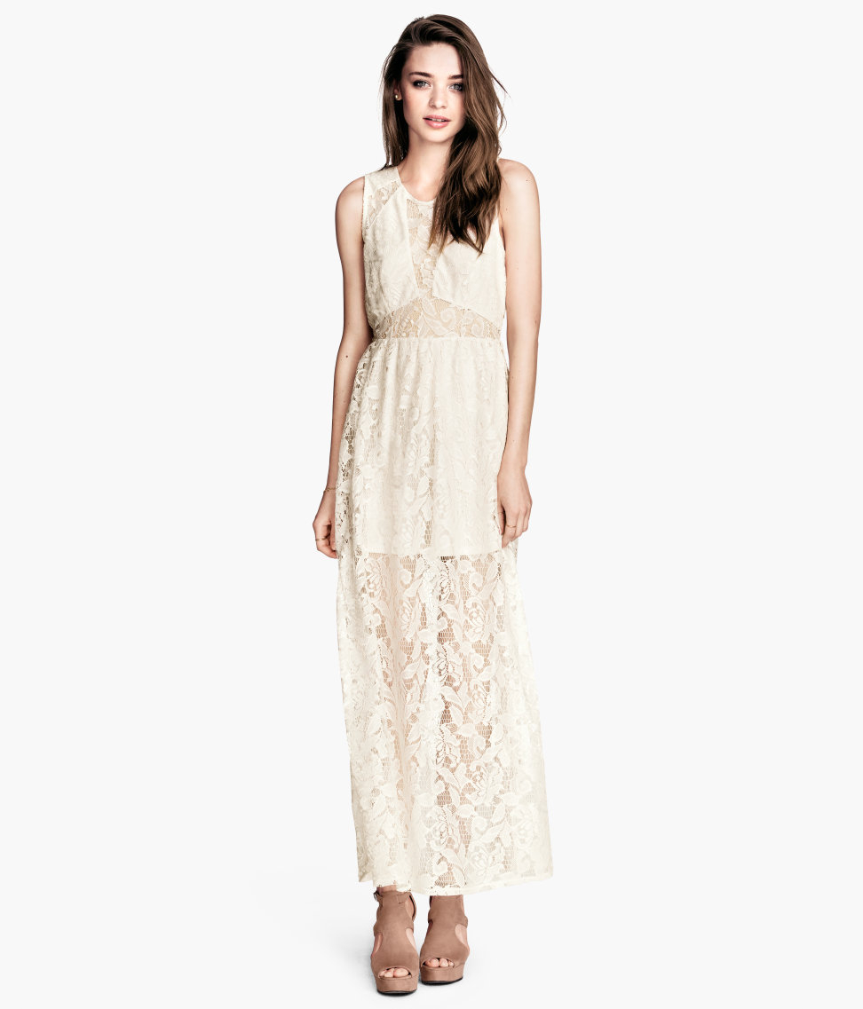 Lace Maxi Dress in White (Natural white) | Lyst