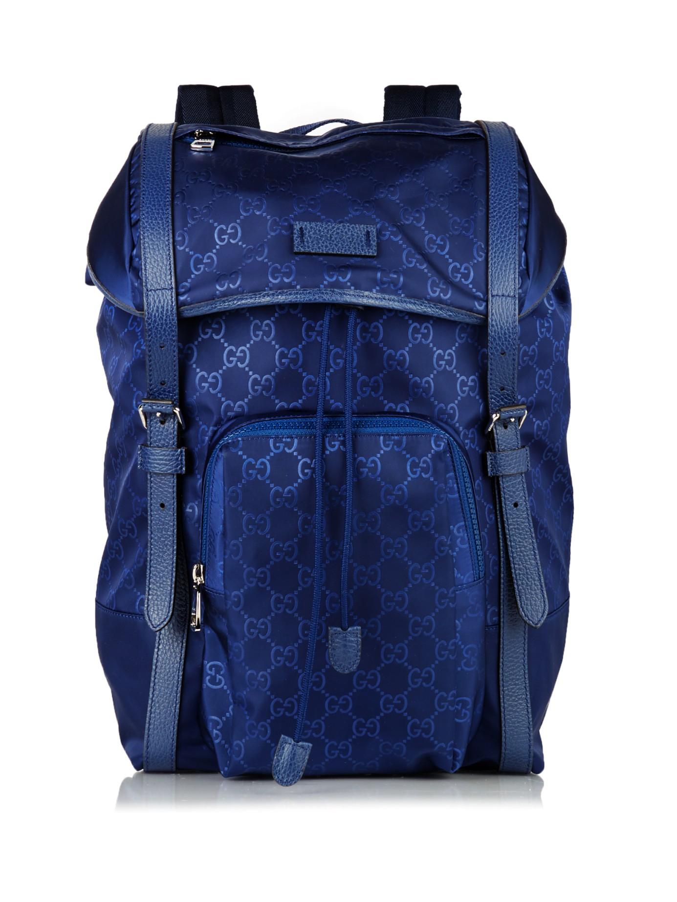 Lyst Gucci Gg Debossed Nylon Backpack In Blue For Men
