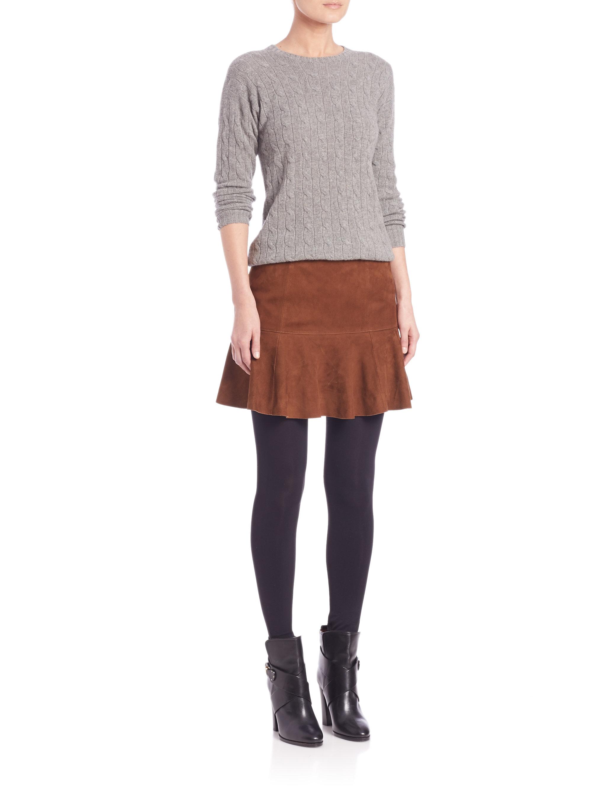 Polo Ralph Lauren Classic Suede Skirt In Brown Lyst