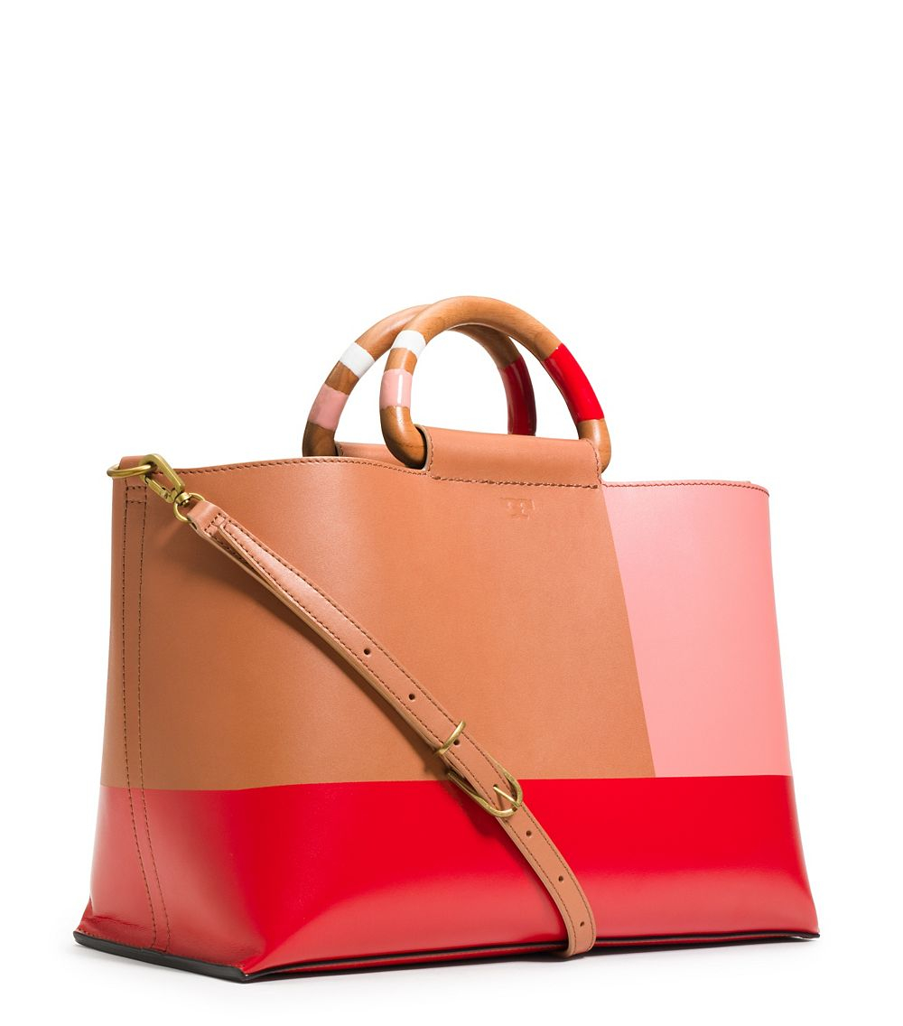 Tory Burch Color Block Tote In Red