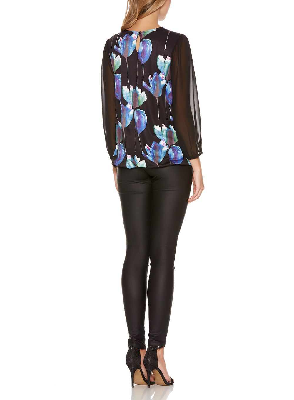 Quiz Black Floral Print Bubble Top Dress