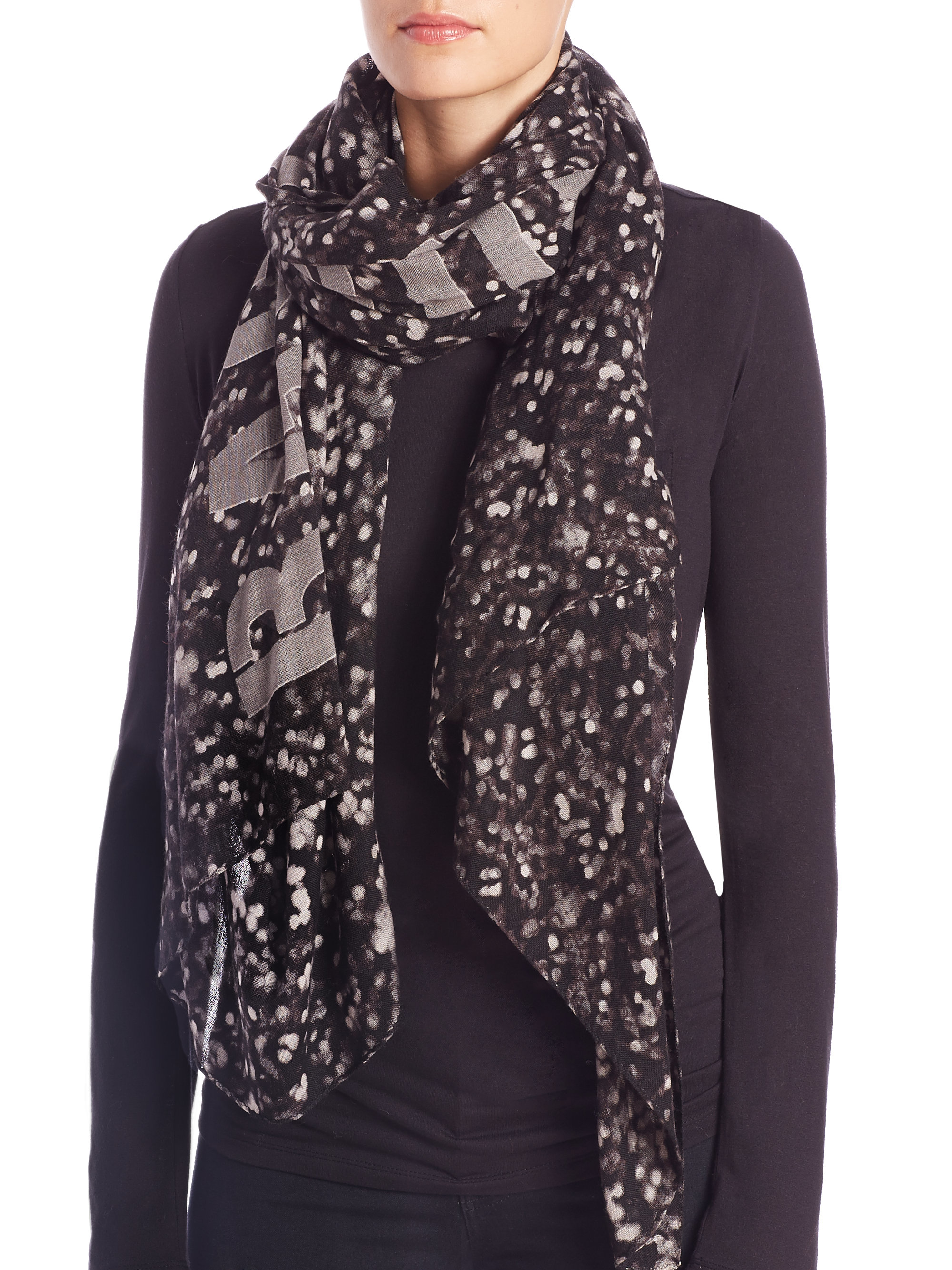 rag bone light print wool scarf in gray lyst