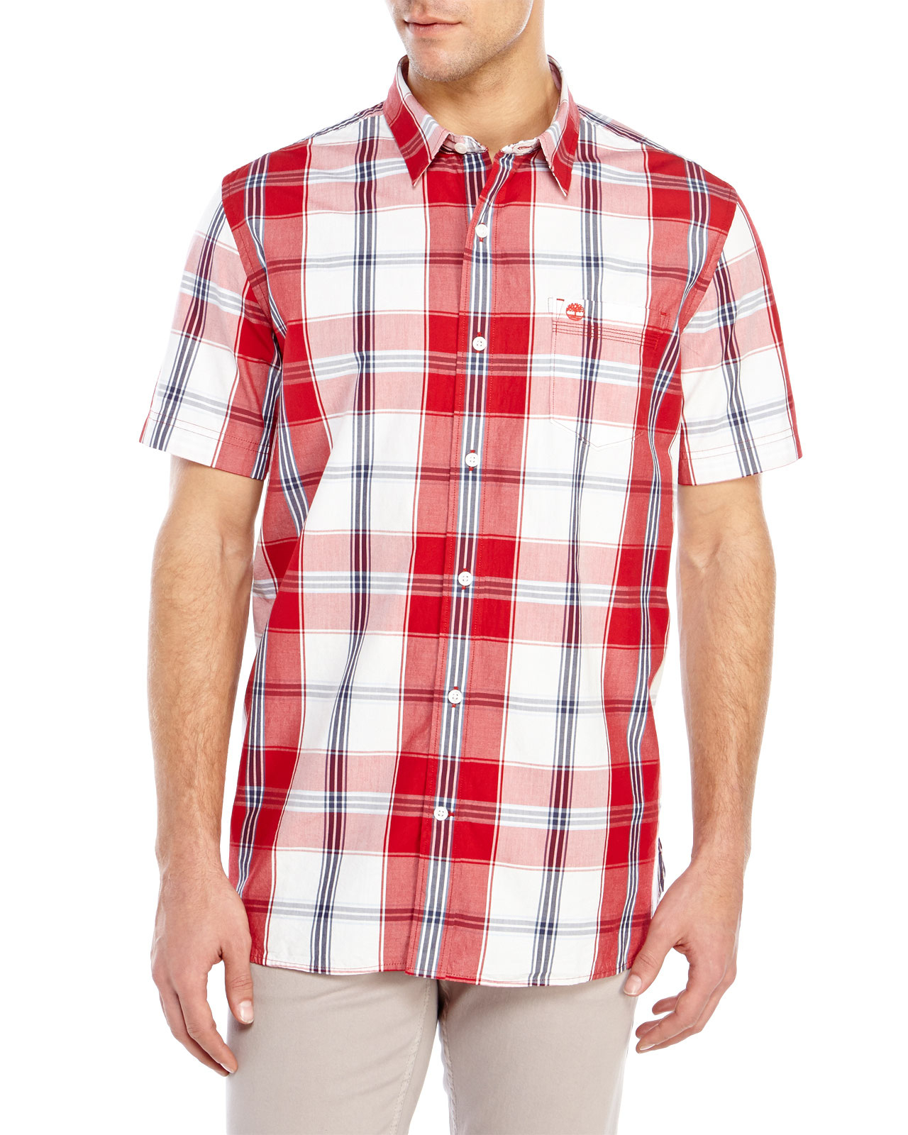Timberland short sleeve plaid sport shirt in red for men Short sleeve plaid shirts
