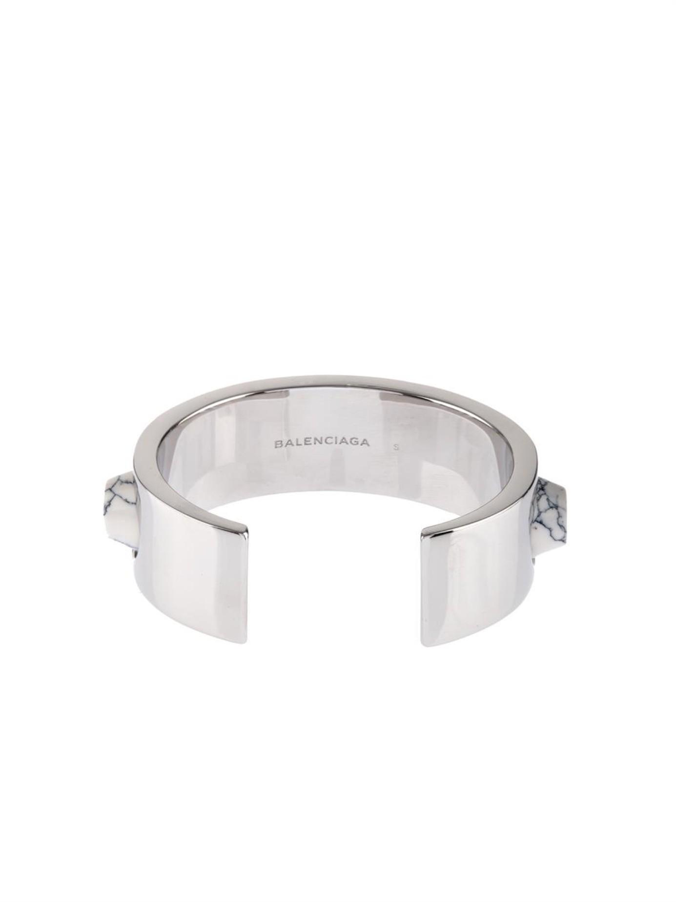 Balenciaga Denim Marble Arena Stud Cuff in Silver (Metallic)