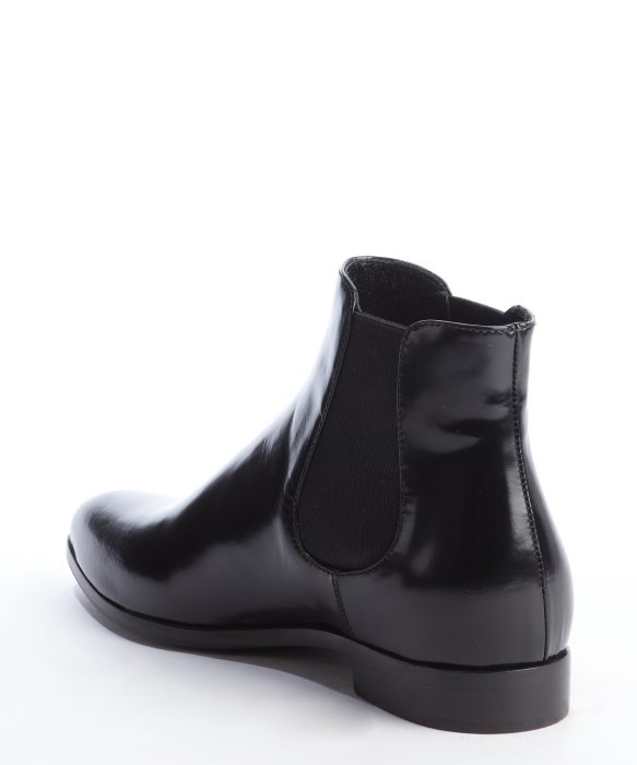 Prada Black Leather Pointed Toe Ankle Boots In Black For