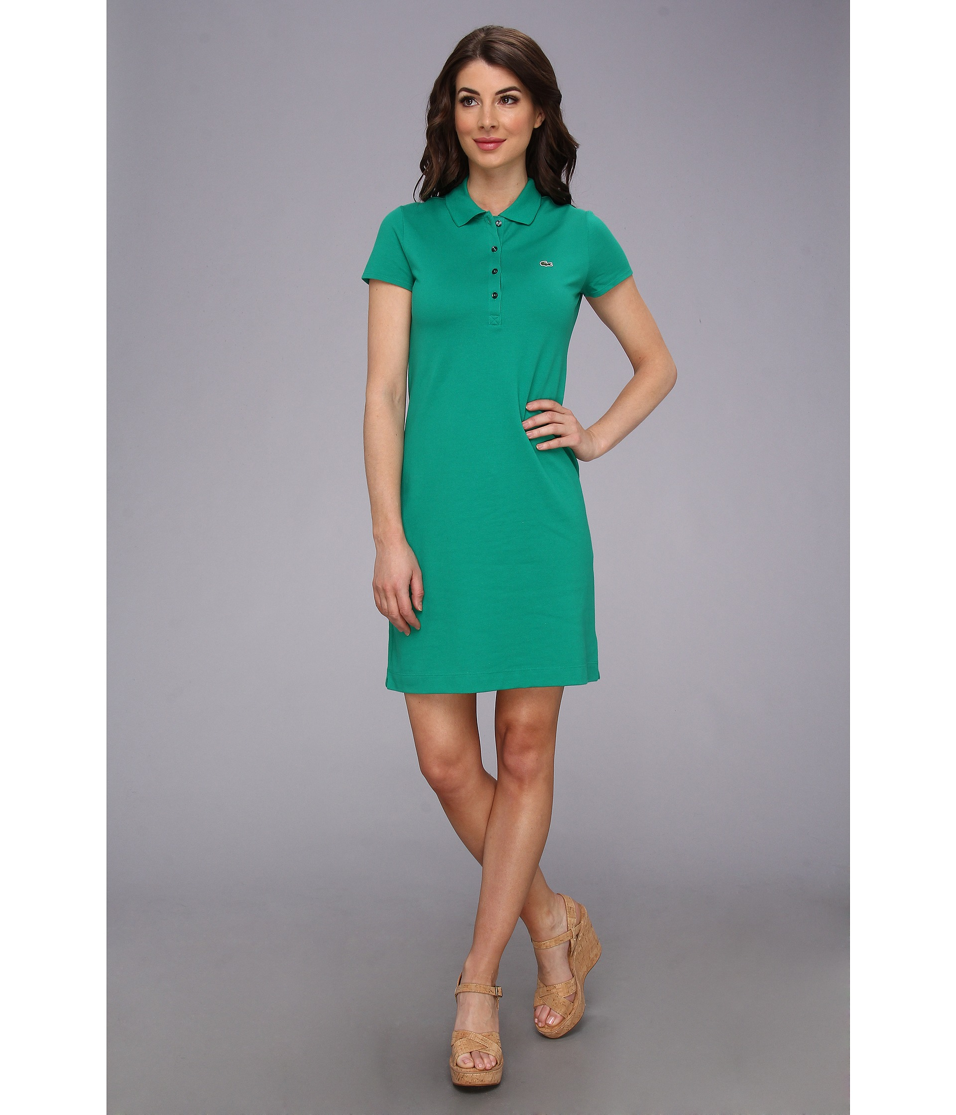 Lyst - Lacoste Ss Stretch Pique Classic Polo Dress in Green
