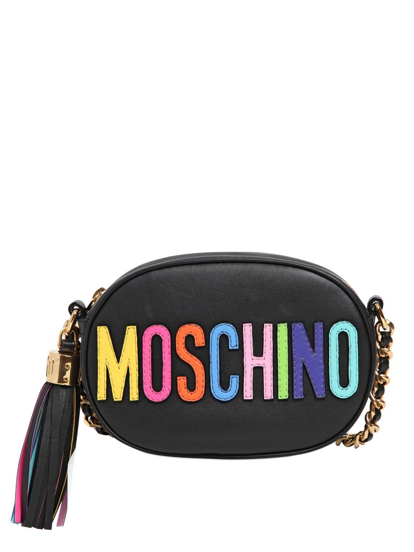 Lyst Moschino Logo Lettering Leather Shoulder Bag In Black