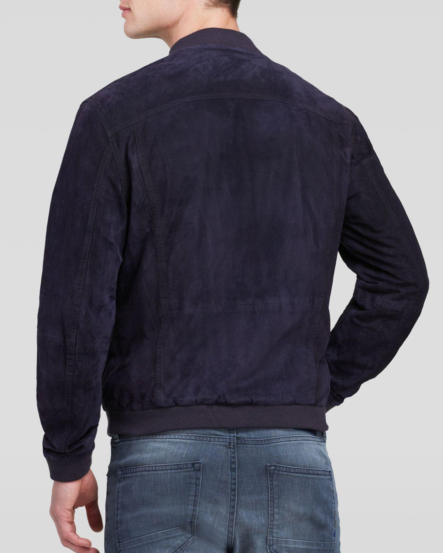 scotch soda slim fit suede bomber jacket in blue for men. Black Bedroom Furniture Sets. Home Design Ideas