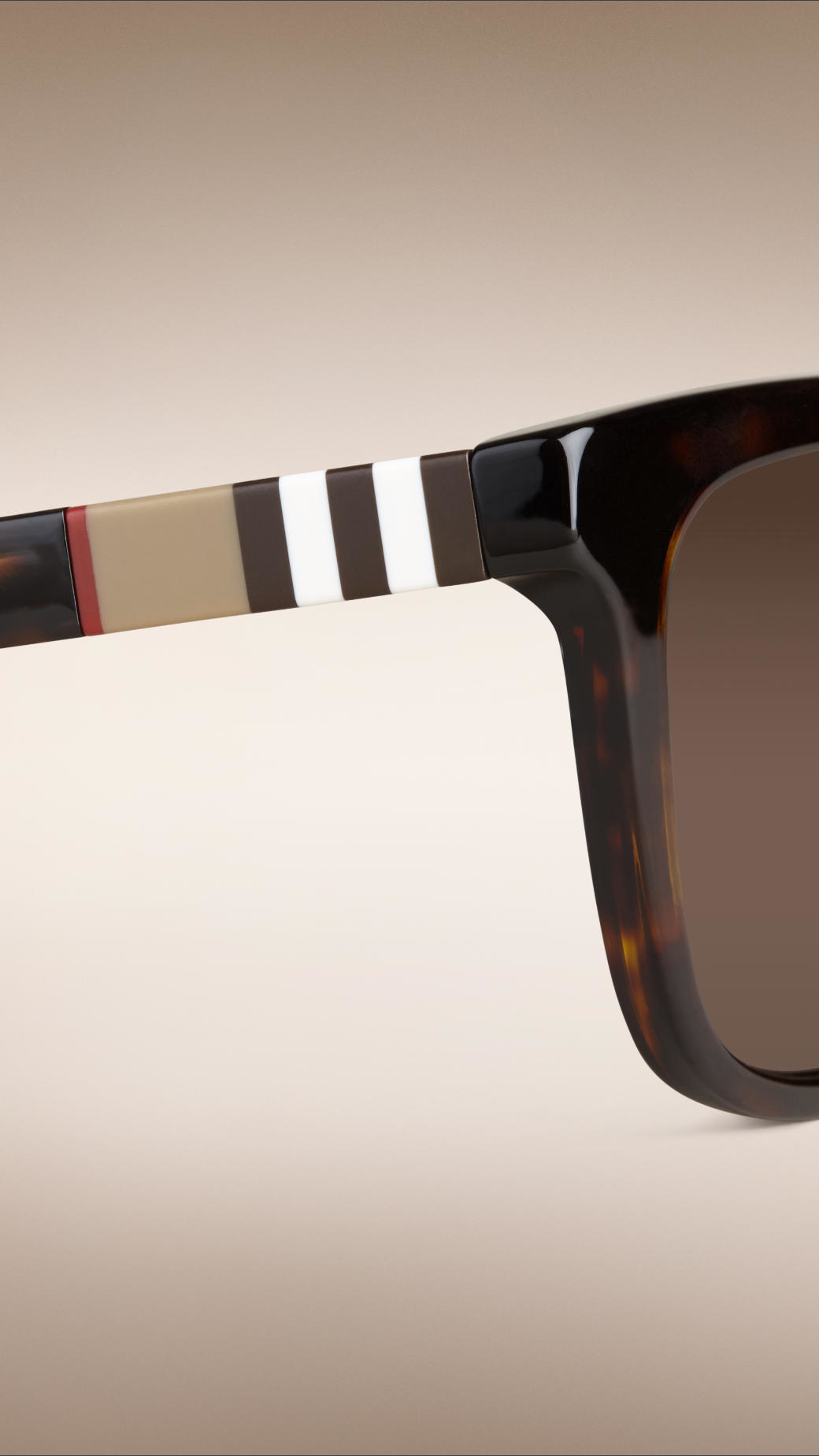 1883eac9c784 Burberry Square Frame Check Detail Sunglasses Brown in Black for Men ...