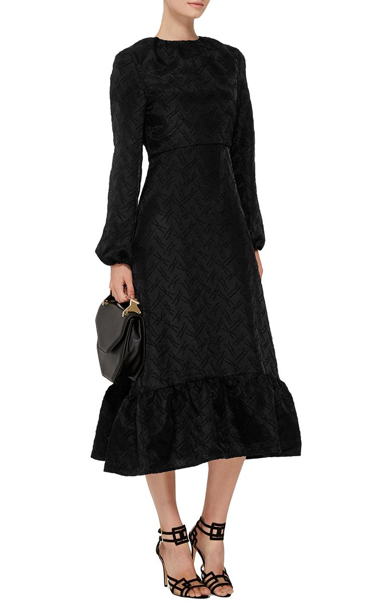 Jw Anderson Black Wool Blend Long Sleeved Midi Dress Lyst