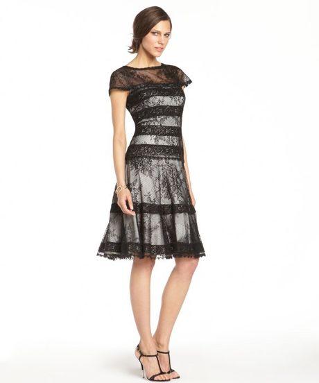 Tadashi Shoji Black Lace Overlay Short Sleeve Flared Dress