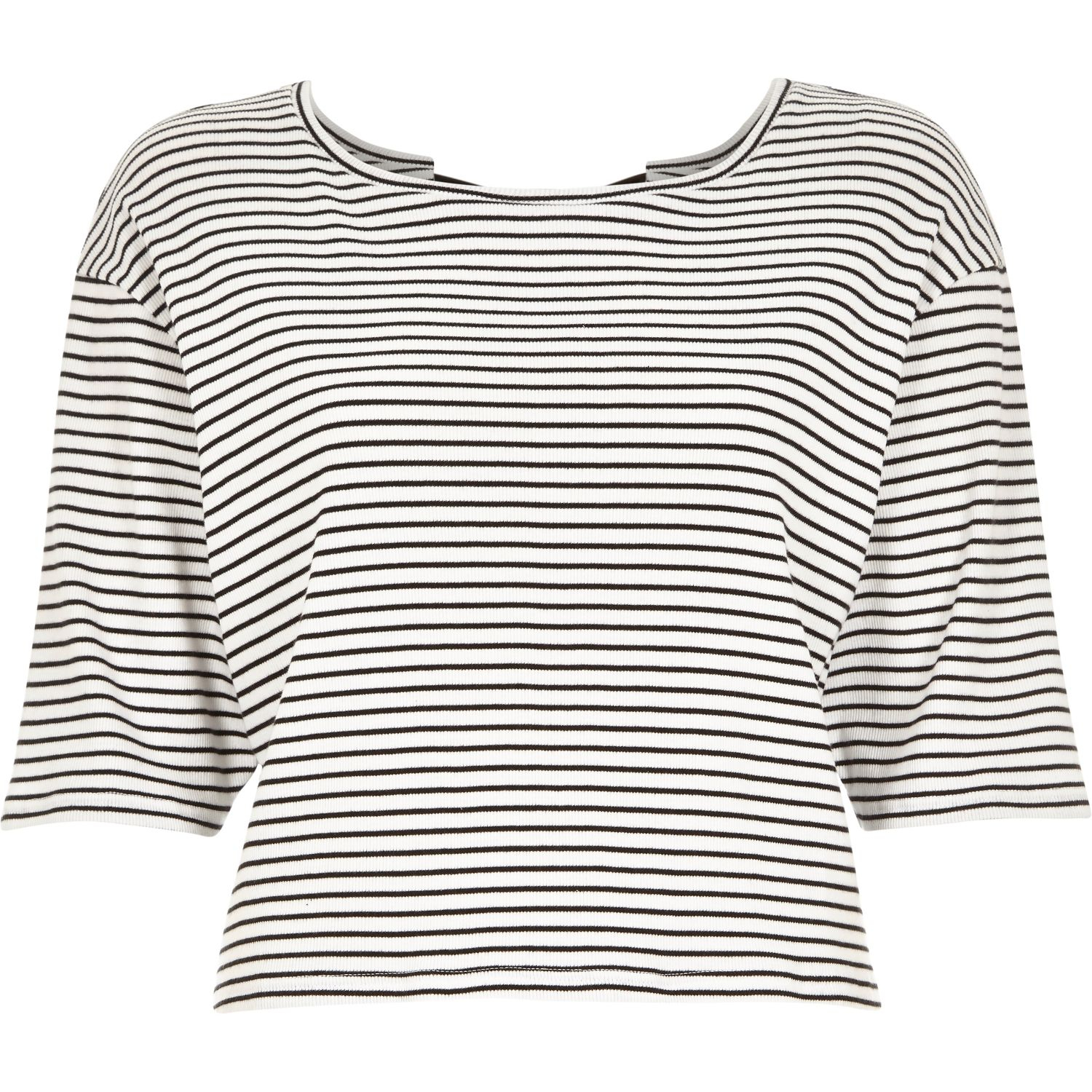 98bf1aed9cebfd Lyst - River Island Navy Stripe Bow Back T-shirt in Blue