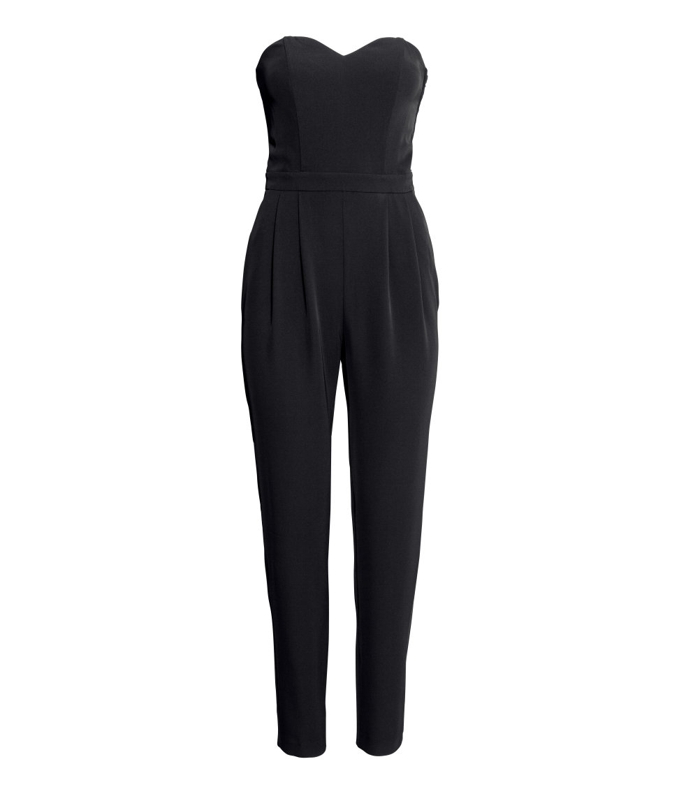 dab9a2fe089 H M Bandeau Jumpsuit in Black - Lyst