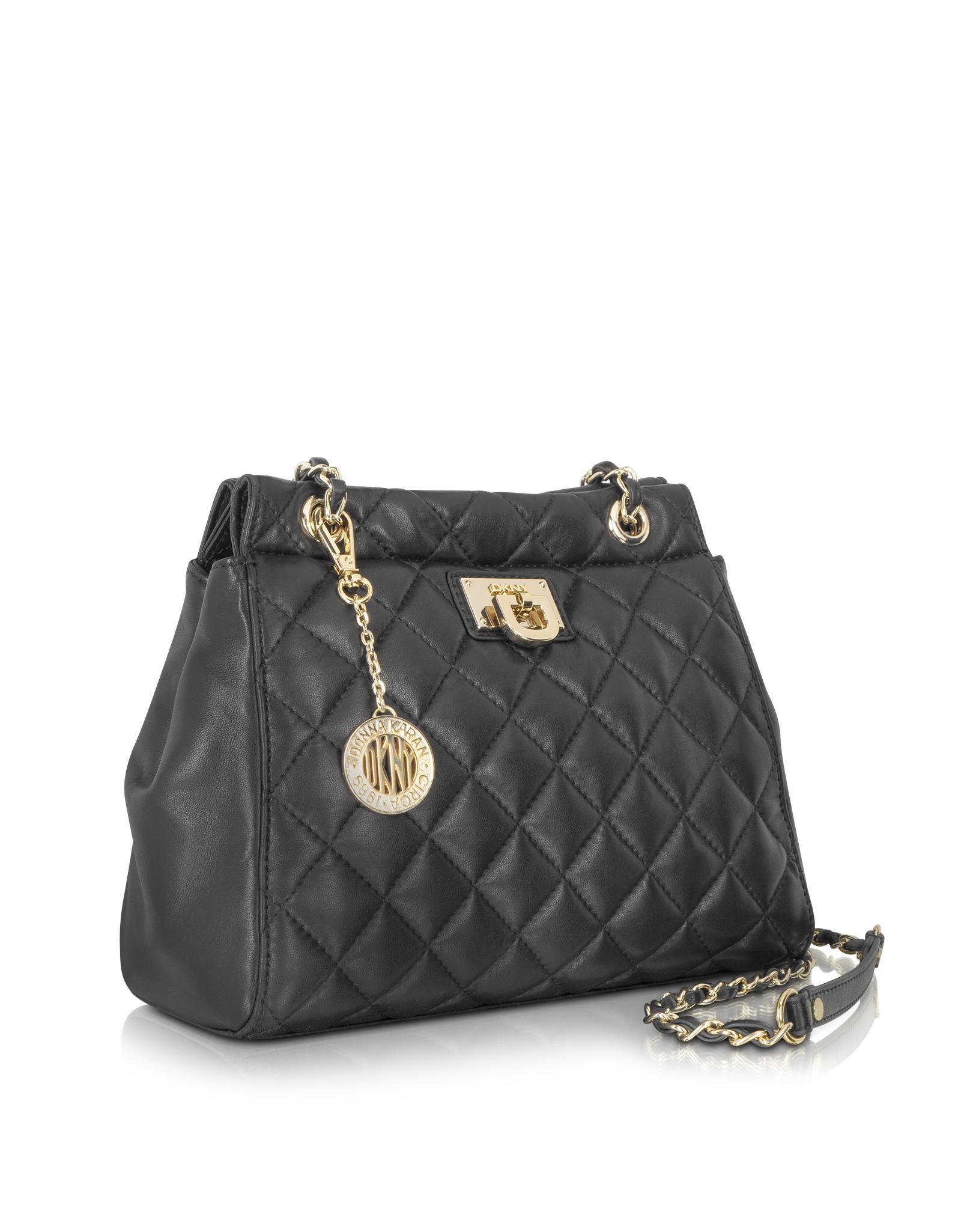 Dkny Gansevoort Quilted Nappa Large Snap Crossbody Bag in Black | Lyst : dkny black quilted handbag - Adamdwight.com