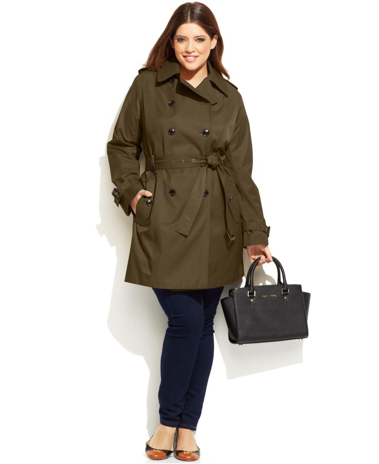 Lyst - Michael Kors Michael Plus Size Faux-Leather-Trim Trench Coat ...