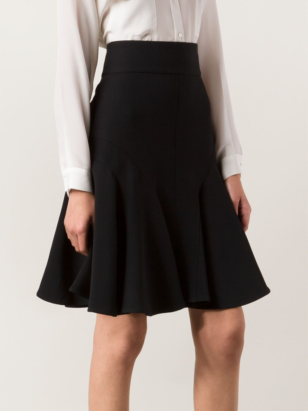 Givenchy A-Line Godet Skirt in Black