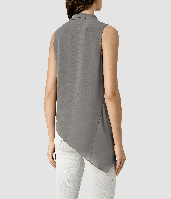 f6563aa23e Lyst - AllSaints Abi Vik Top in Gray