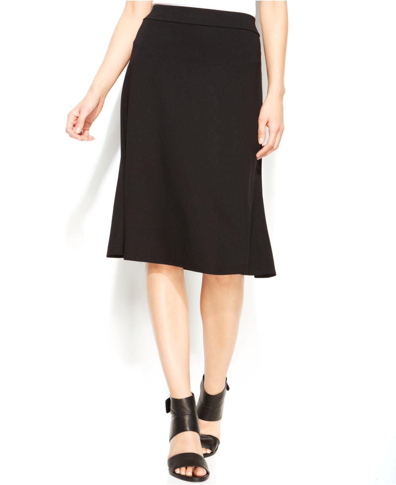 eileen fisher solid knee length flare skirt in black lyst