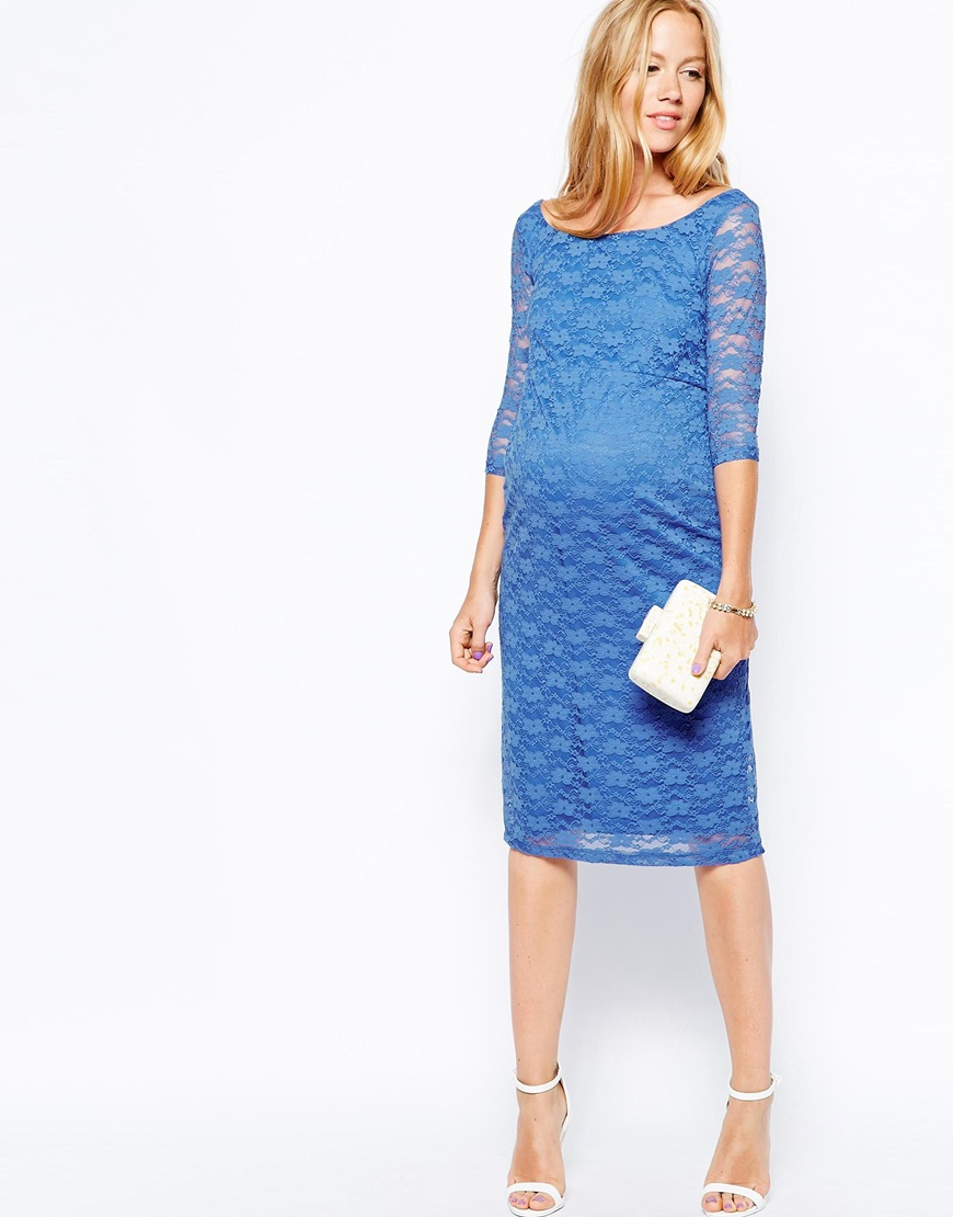 Asos Lace Midi Body-conscious Dress With Bardot Scoop Neck in Blue ...