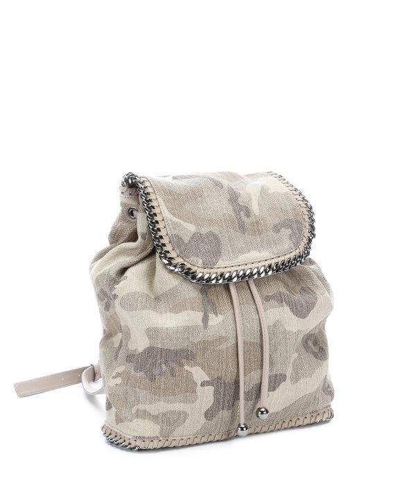 stella mccartney beige camo canvas 39 rucksack 39 backpack in natural lyst. Black Bedroom Furniture Sets. Home Design Ideas